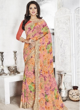 Luxurious Faux Georgette Traditional Saree