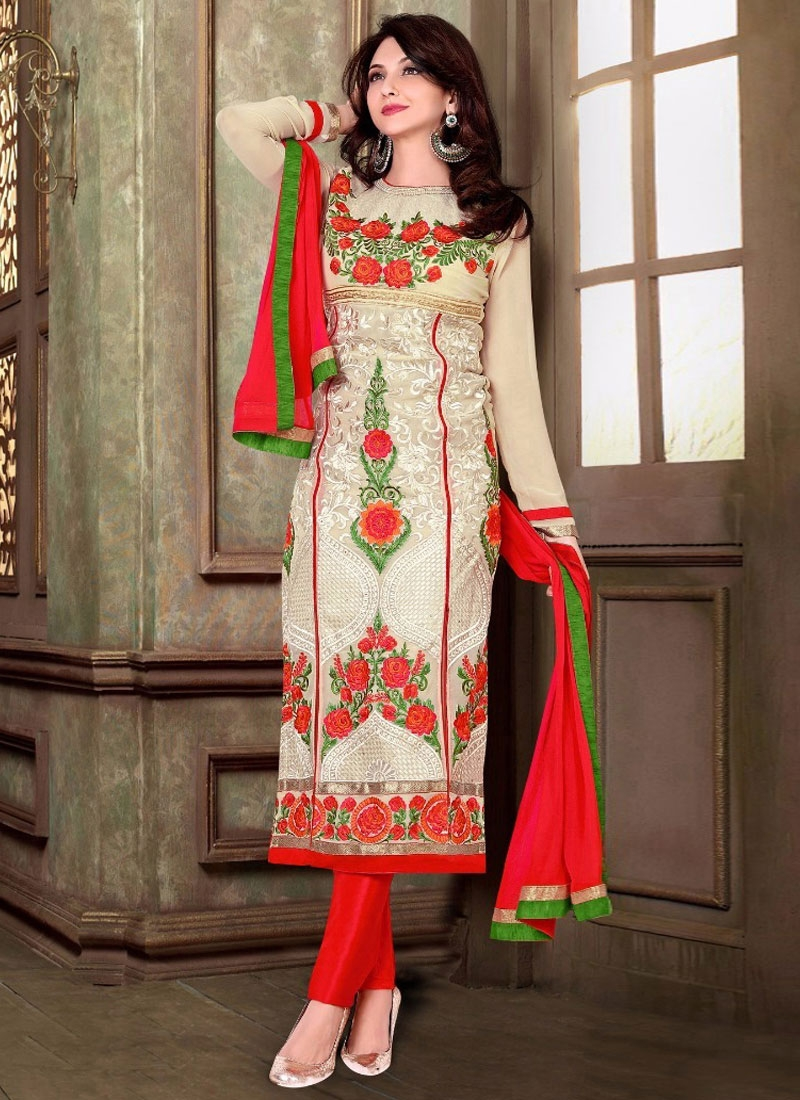 Luxurious Floral And Booti Work Party Wear Salwar Suit