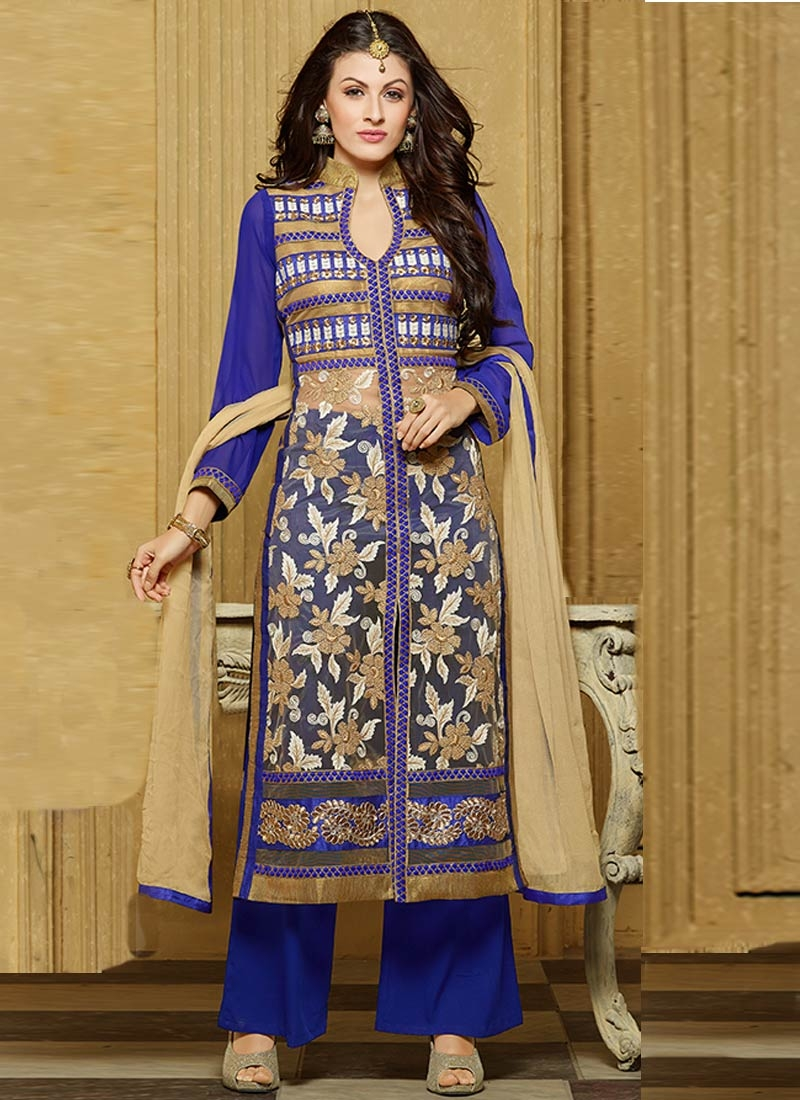 Luxurious Floral Work Palazzo Style Designer Suit
