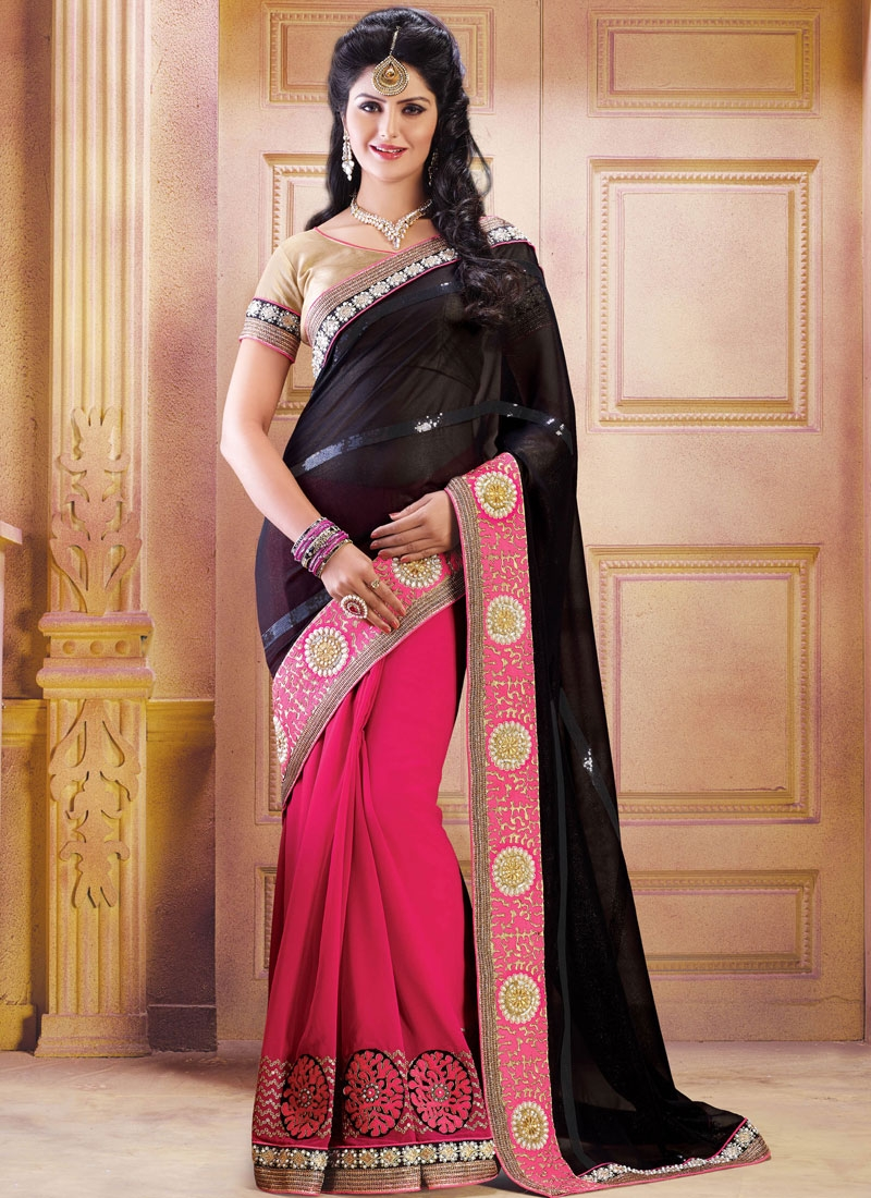 Luxurious Fuchsia And Black Color Half N Half Party Wear Saree