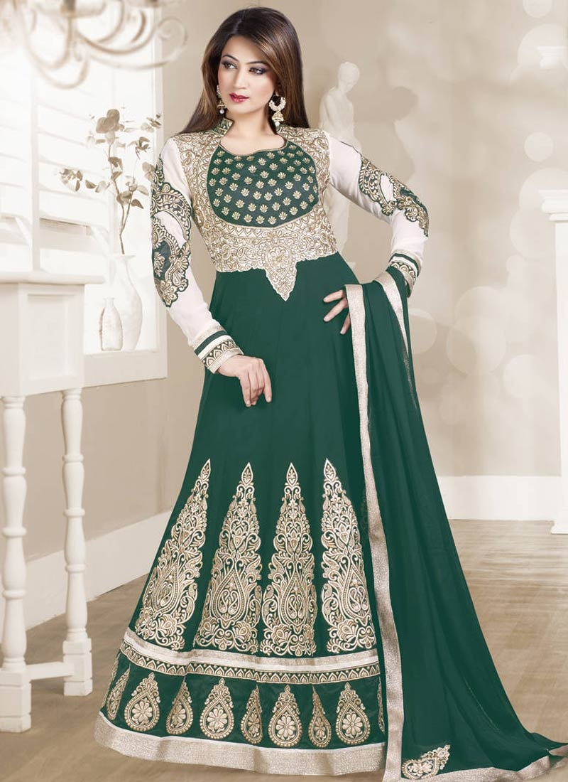 Luxurious Lace And Booti Work Floor Length Anarkali Suit