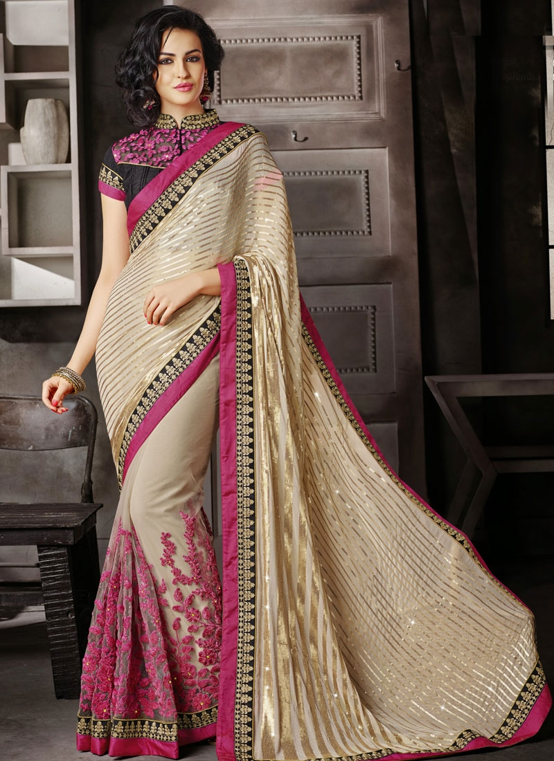 Luxurious Lace And Sequins Work Wedding Saree