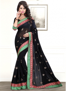 Luxurious Lace And Stone Work Party Wear Saree