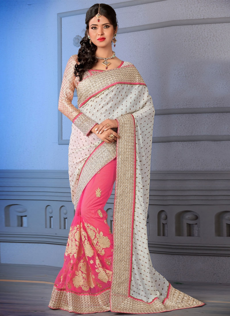 Luxurious Lace Work Half N Half Wedding Saree