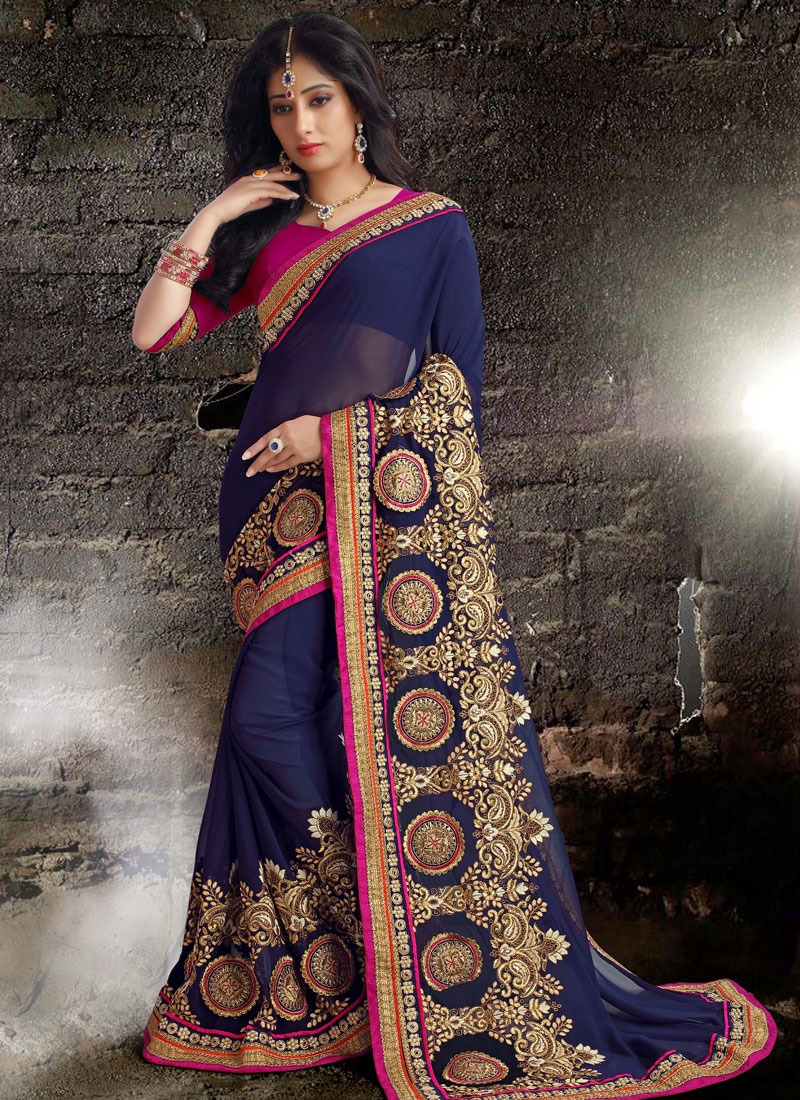 Luxurious Navy Blue Color Booti Work Designer Saree