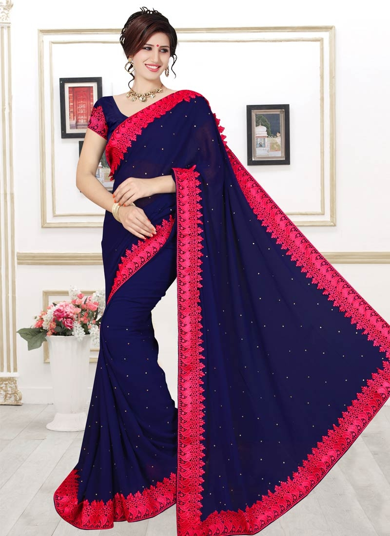 Luxurious Navy Blue Color Casual Saree