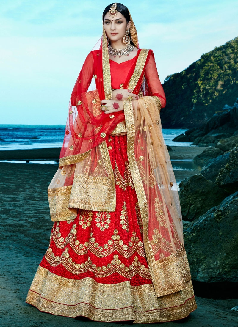 Luxurious Patch Border Work Red Color Bridal Lehenga Choli