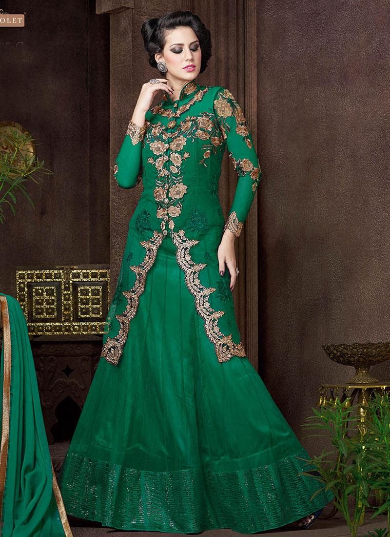 Luxurious Resham Work Green Color Net Designer Lehenga Choli