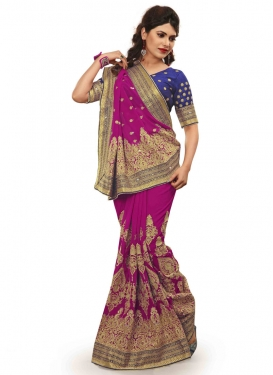 Luxurious Resham Work Magenta Color Wedding Saree