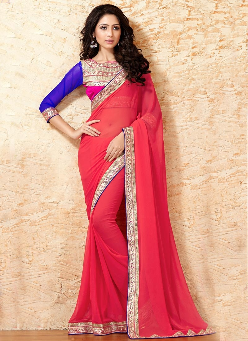Luxurious Rose Pink Color Faux Georgette Party Wear Saree