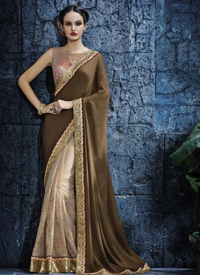 Luxurious Sequins Work Crepe Silk Half N Half Designer Saree