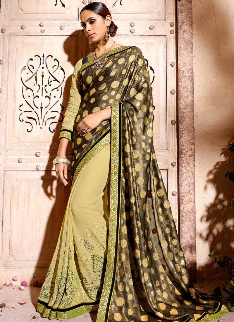 Luxurious Shimmer Georgette Half N Half Party Wear Saree