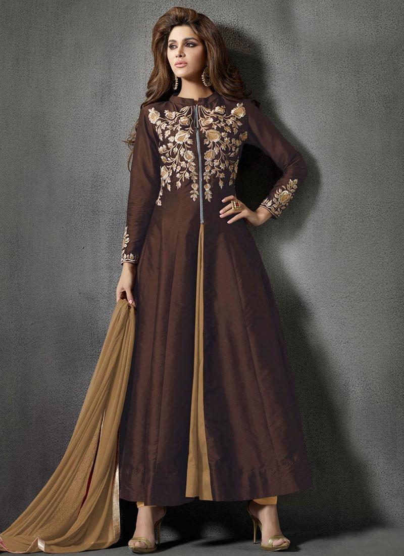 Luxurious Silk Ankle Length Designer Salwar Kameez