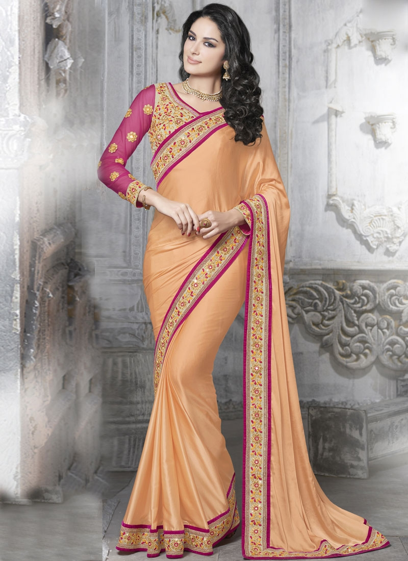 Luxurious Stone And Lace Work Party Wear Saree