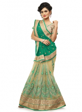 Luxurious Stone And Resham Work Net Half N Half Wedding Saree