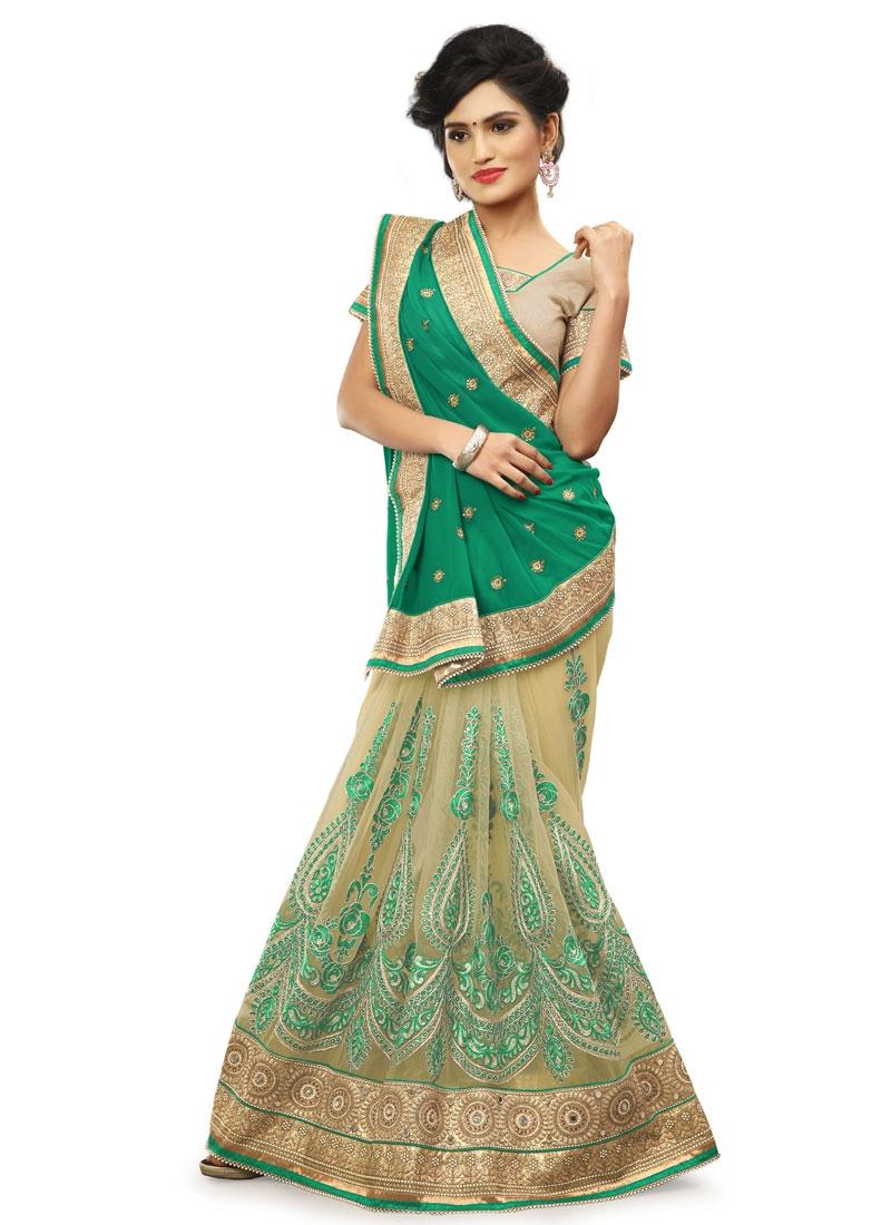 Luxurious Stone And Resham Work Net Half N Half Wedding Saree