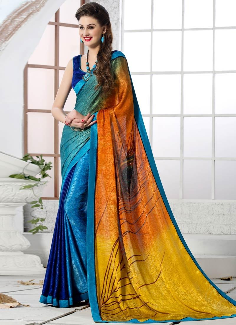 Luxurious Stone Work Crepe Silk Casual Saree