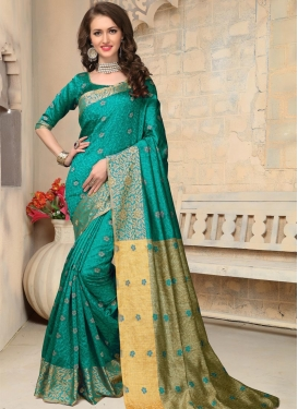 Luxurious Thread Work  Banarasi Silk Trendy Saree