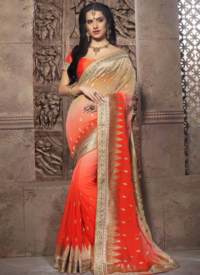 Luxurious Zari And Stone Work Wedding Saree