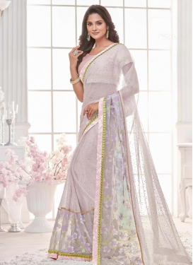 Lycra Beads Work Lavender and Pink Designer Contemporary Saree