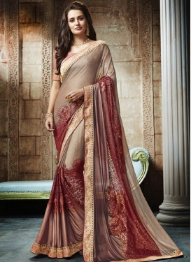 Lycra Beige and Brown Designer Contemporary Style Saree For Festival