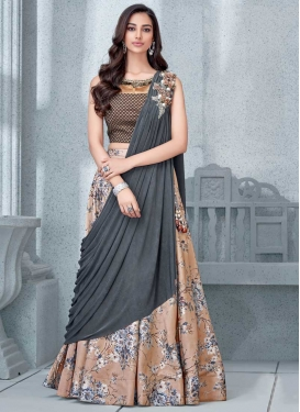 Lycra Beige and Grey Designer Lehenga Choli
