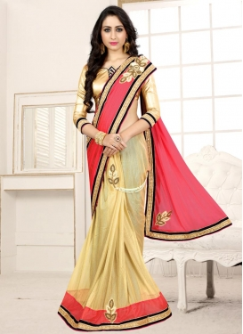 Lycra Beige and Rose Pink Beads Work Half N Half Designer Saree