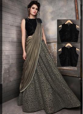 Lycra Black and Grey Trendy Lehenga