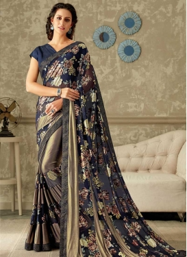 Lycra Brown and Navy Blue Trendy Classic Saree For Ceremonial
