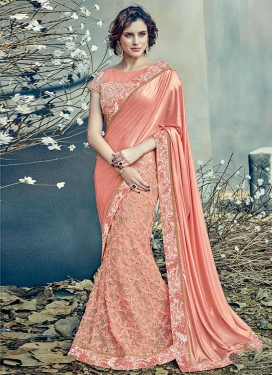 Lycra Embroidered Work Designer Lehenga Style Saree