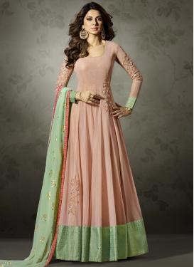 Lycra Embroidered Work Floor Length Anarkali Salwar Suit
