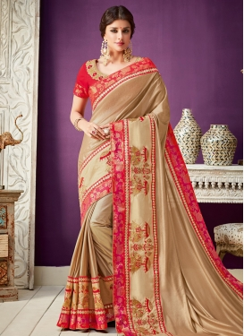 Lycra Embroidered Work Traditional Saree