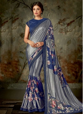 Lycra Grey and Navy Blue Designer Contemporary Style Saree For Festival