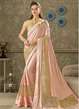 Lycra Lace Work Designer Contemporary Style Saree