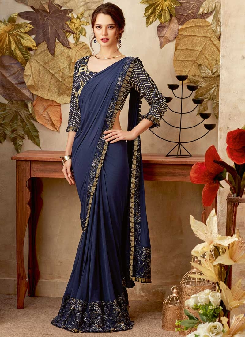 Lycra Lace Work Trendy Classic Saree
