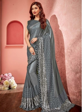 Lycra Lace Work Trendy Saree