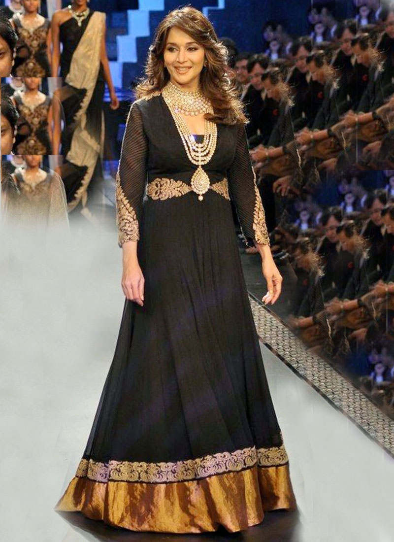 Madhuri Dixit Chiffon And Georgette Bolltwood Suit