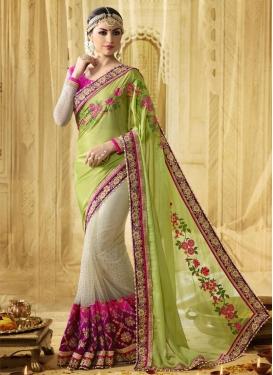 Magenta and Mint Green Beads Work Half N Half Trendy Saree