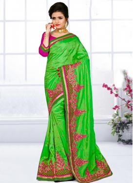 Magenta and Mint Green Embroidered Work Traditional Saree