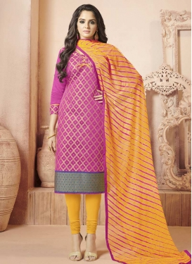 Magenta and Mustard Thread Work Churidar Salwar Suit