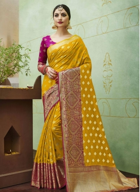 Magenta and Mustard Thread Work Trendy Classic Saree