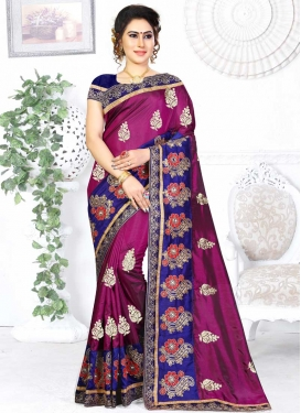 Magenta and Navy Blue Embroidered Work Designer Contemporary Saree