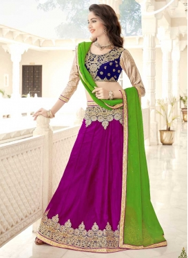 Magenta and Navy Blue Embroidered Work Trendy Lehenga Choli
