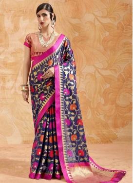 Magenta and Navy Blue Handloom Silk Trendy Saree