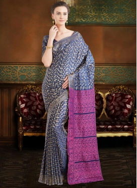 Magenta and Navy Blue Jacquard Silk Contemporary Style Saree