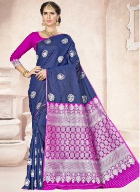 Magenta and Navy Blue Thread Work Designer Contemporary Saree