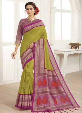 Magenta and Olive Print Work Designer Contemporary Style Saree