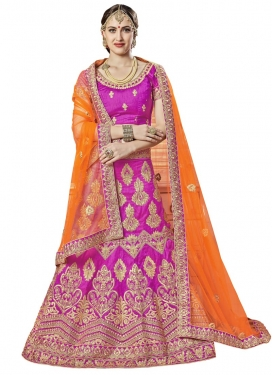 Magenta and Orange A - Line Lehenga