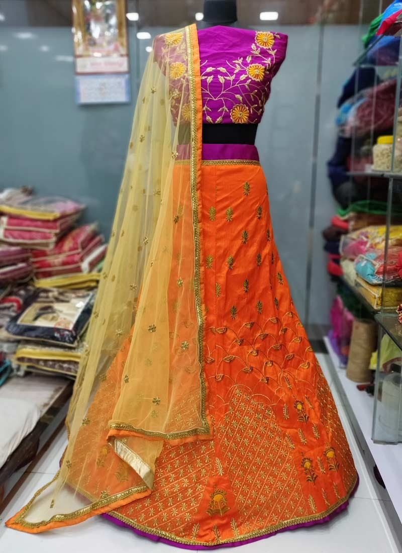 Magenta and Orange A Line Lehenga Choli