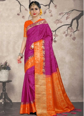 Magenta and Orange Jacquard Silk Trendy Saree